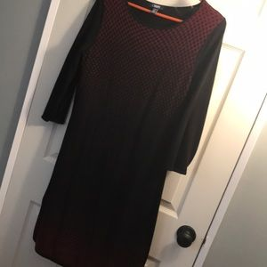 Stretch red and black print sweater dress